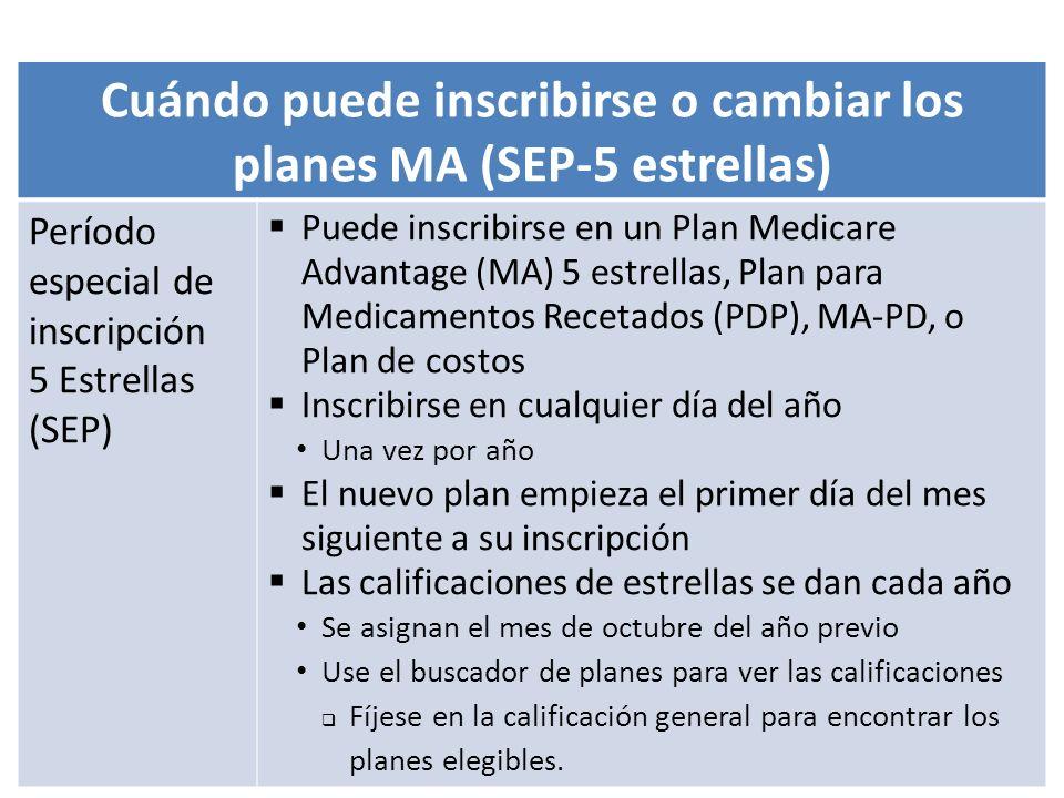 Cuándo puede inscribirse o cambiar los planes MA (SEP-5 estrellas)