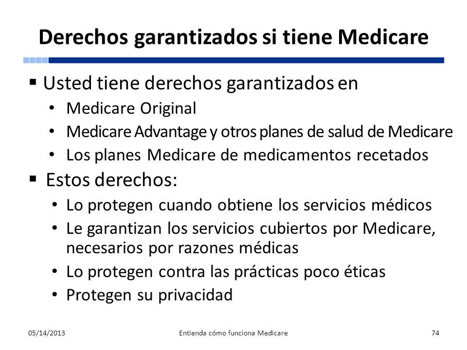 Derechos garantizados si tiene Medicare