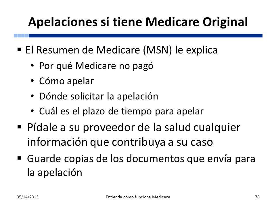 Apelaciones si tiene Medicare Original