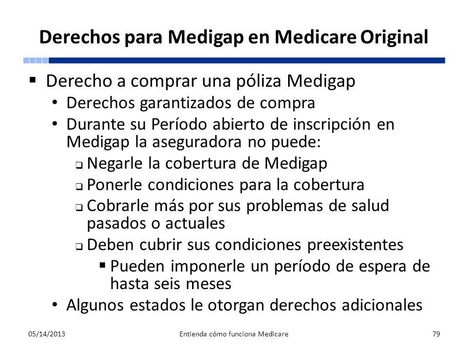Derechos para Medigap en Medicare Original