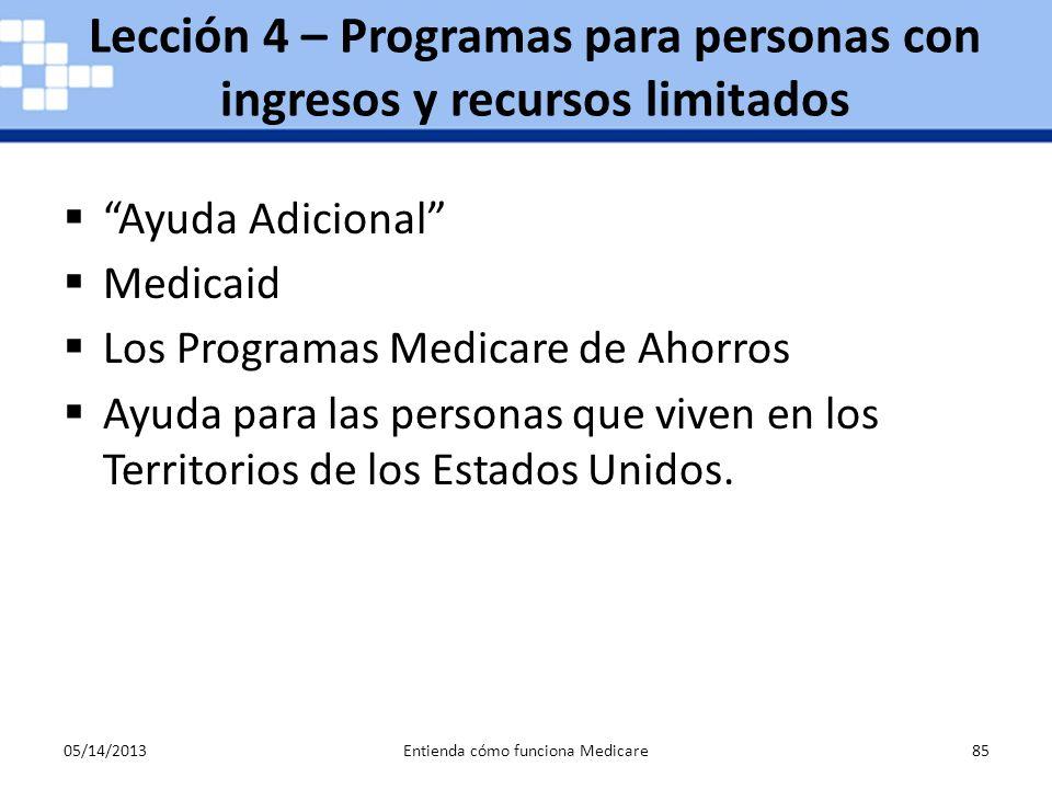 Lección 4 – Programas para personas con ingresos y recursos limitados