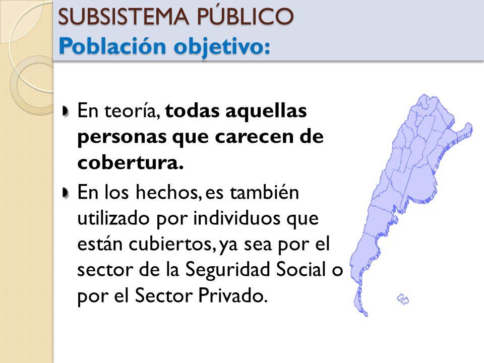 SUBSISTEMA PÚBLICO Población objetivo: