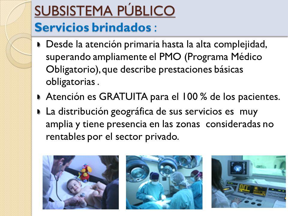 SUBSISTEMA PÚBLICO Servicios brindados :