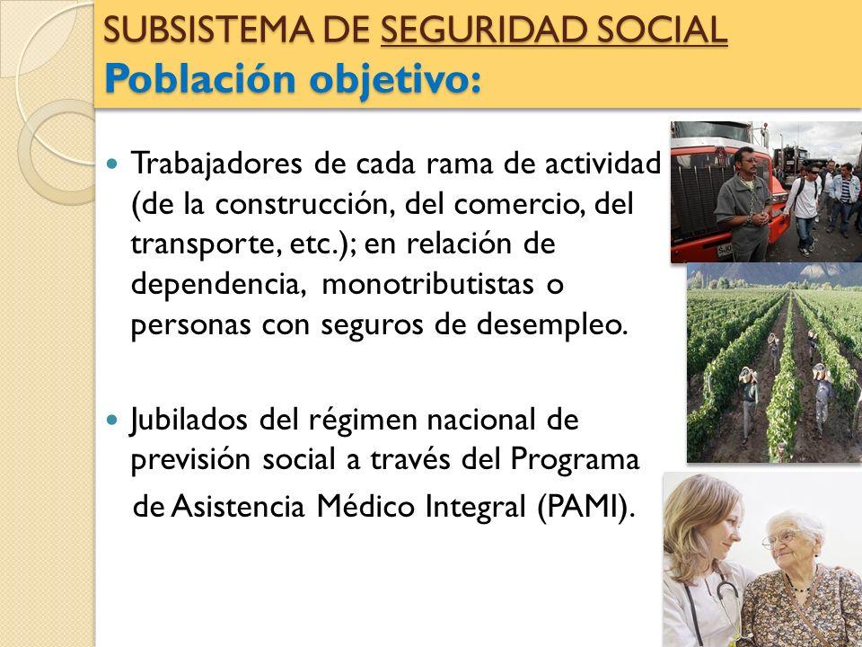 SUBSISTEMA DE SEGURIDAD SOCIAL Población objetivo: