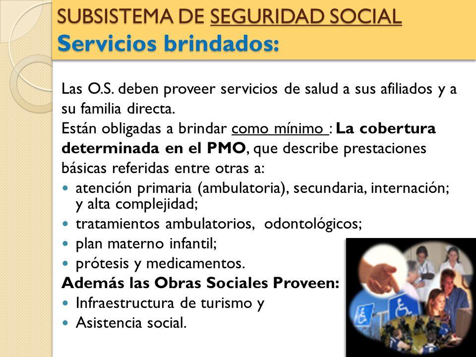 SUBSISTEMA DE SEGURIDAD SOCIAL Servicios brindados: