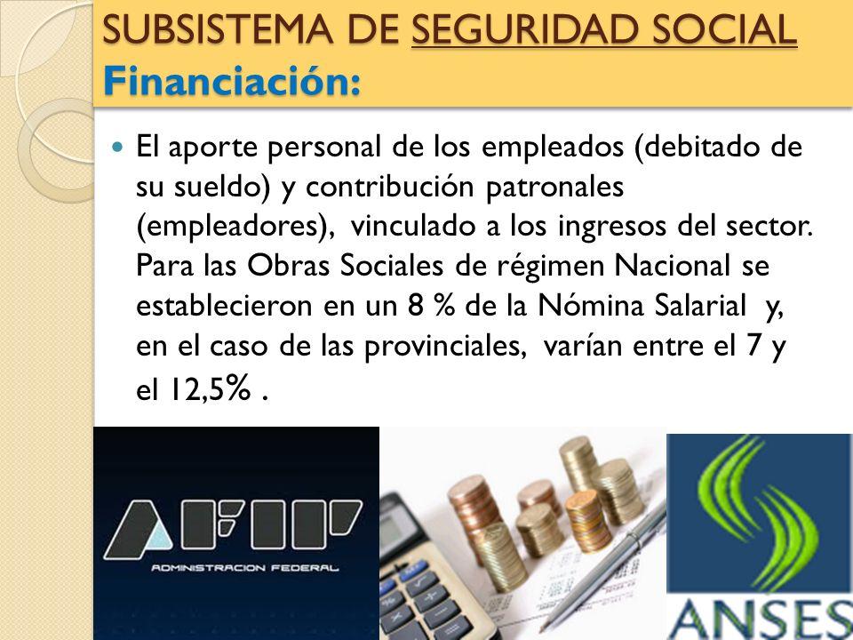 SUBSISTEMA DE SEGURIDAD SOCIAL Financiación: