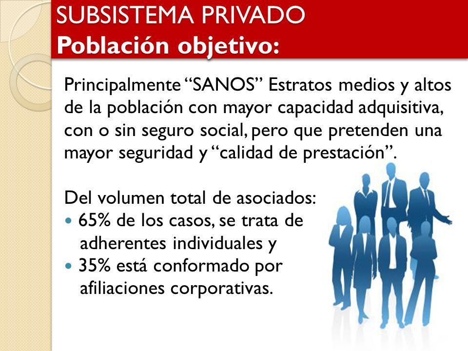 SUBSISTEMA PRIVADO Población objetivo: