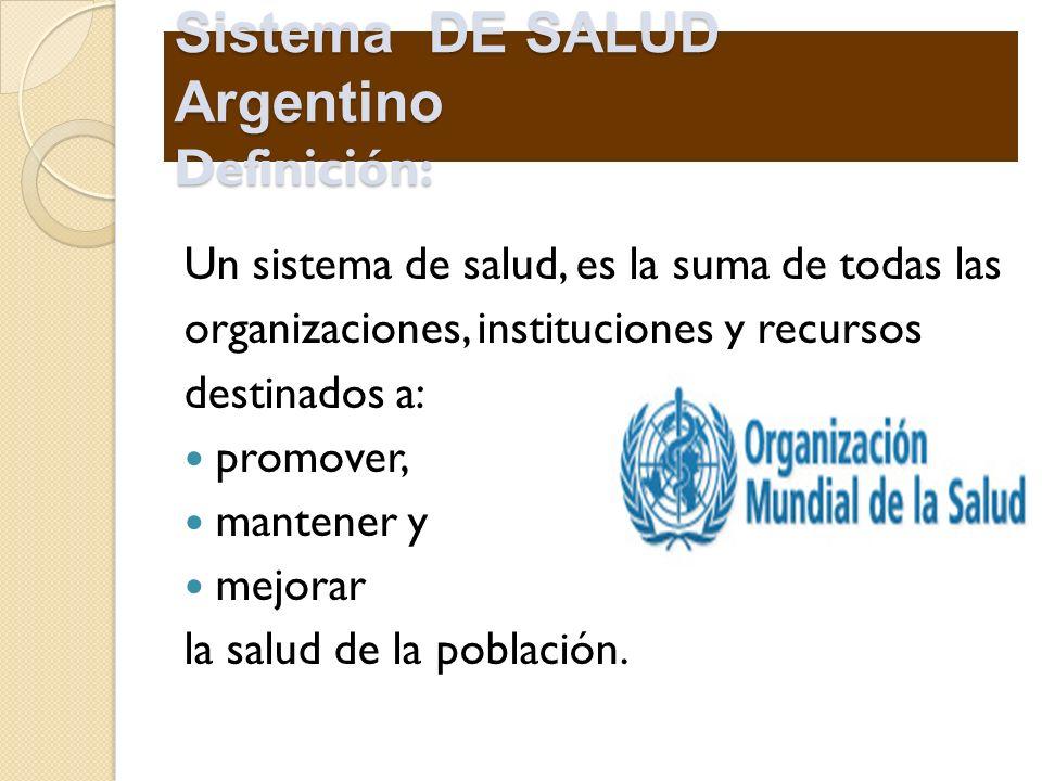 Sistema DE SALUD Argentino Definición: