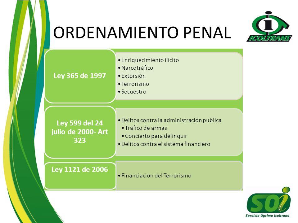 ORDENAMIENTO PENAL Ley 365 de 1997 Enriquecimiento ilícito