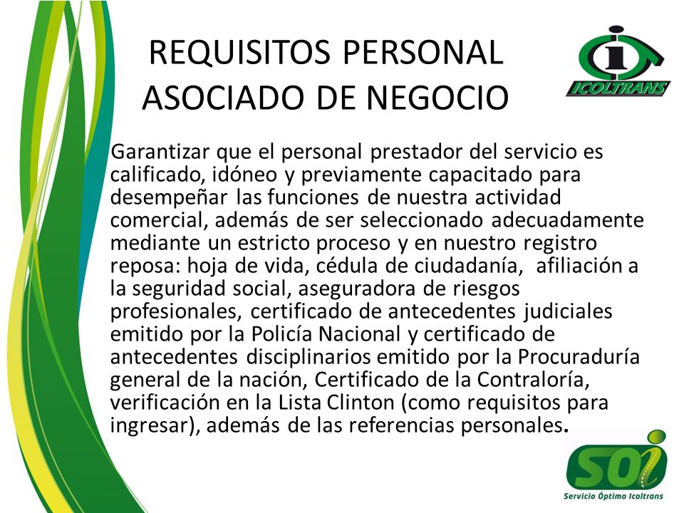 REQUISITOS PERSONAL ASOCIADO DE NEGOCIO