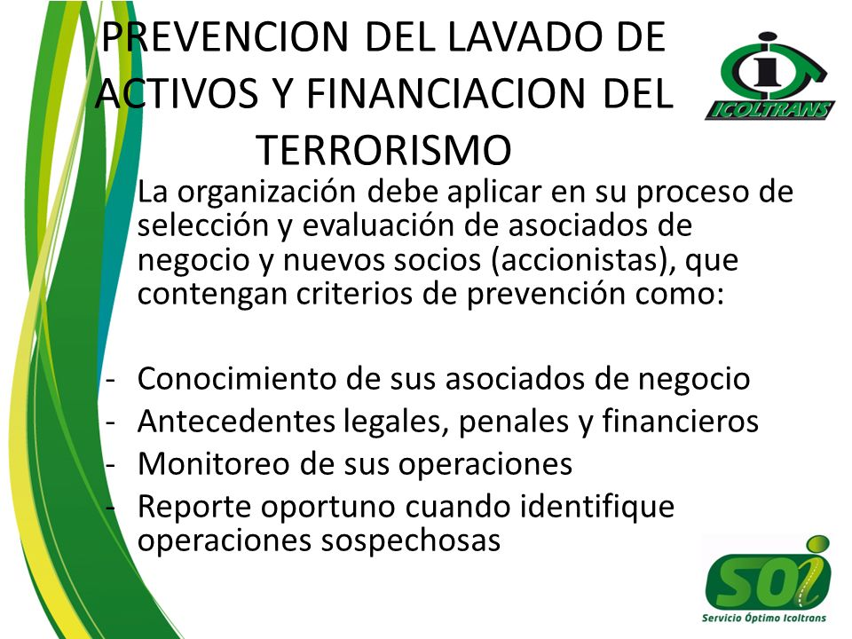 PREVENCION DEL LAVADO DE ACTIVOS Y FINANCIACION DEL TERRORISMO
