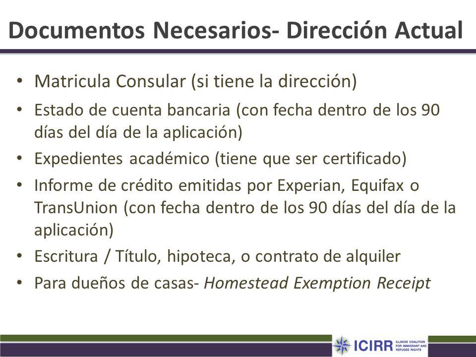 Documentos Necesarios- Dirección Actual