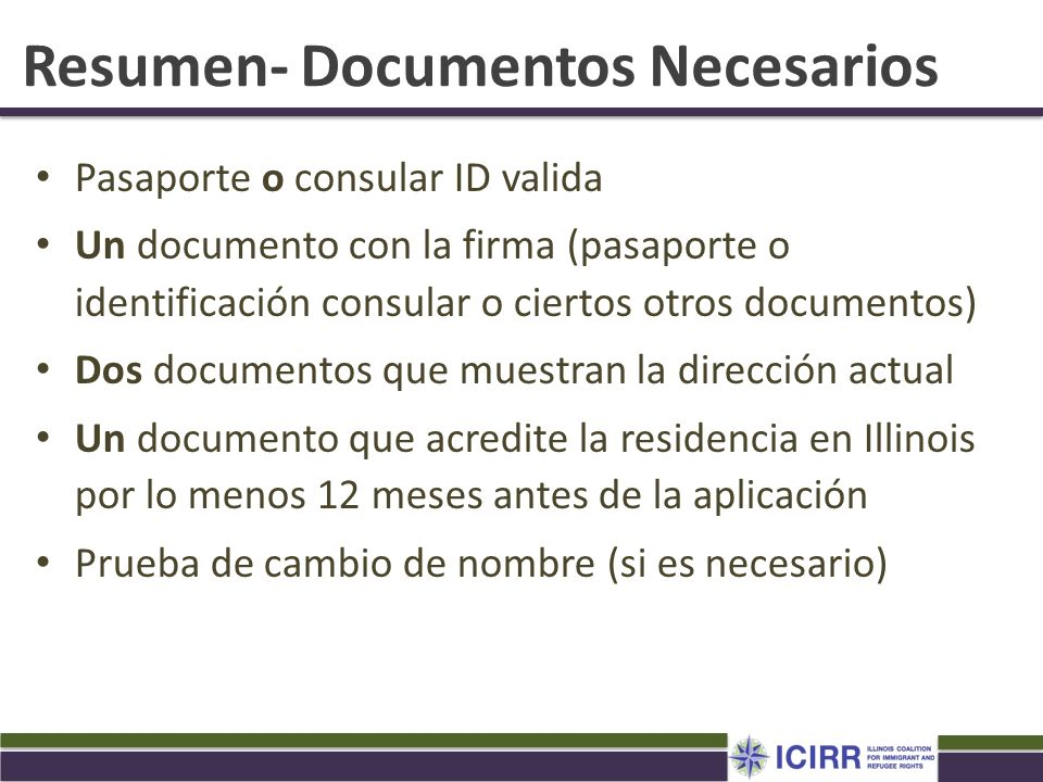 Resumen- Documentos Necesarios