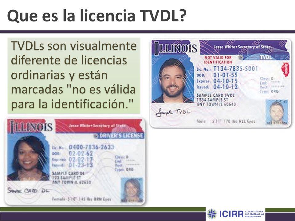Que es la licencia TVDL TVDLs son visualmente diferente de licencias ordinarias y están marcadas no es válida para la identificación.