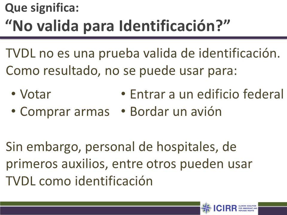 Que significa: No valida para Identificación