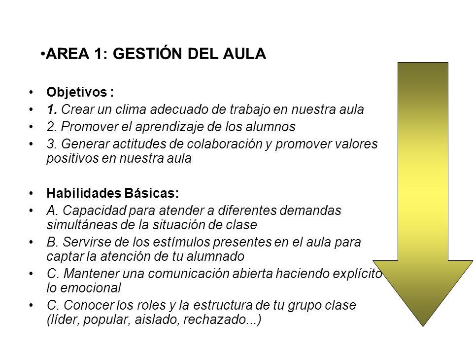 AREA 1: GESTIÓN DEL AULA Objetivos :