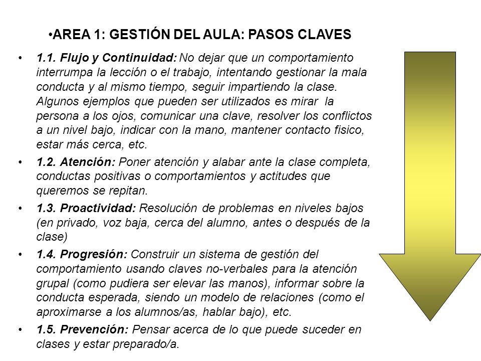 AREA 1: GESTIÓN DEL AULA: PASOS CLAVES
