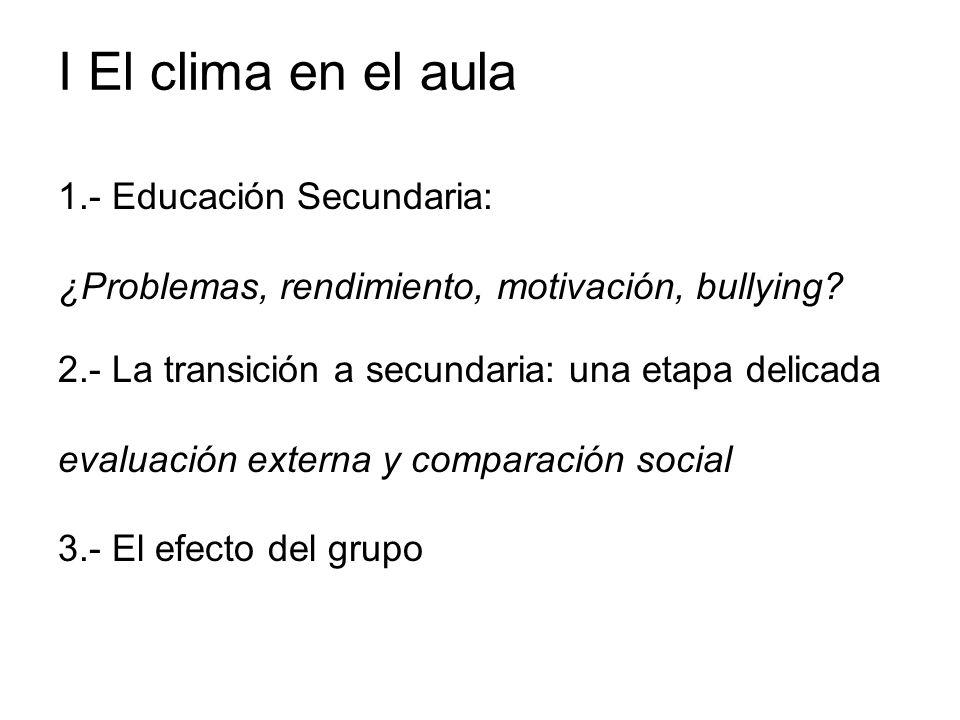I El clima en el aula 1.- Educación Secundaria: