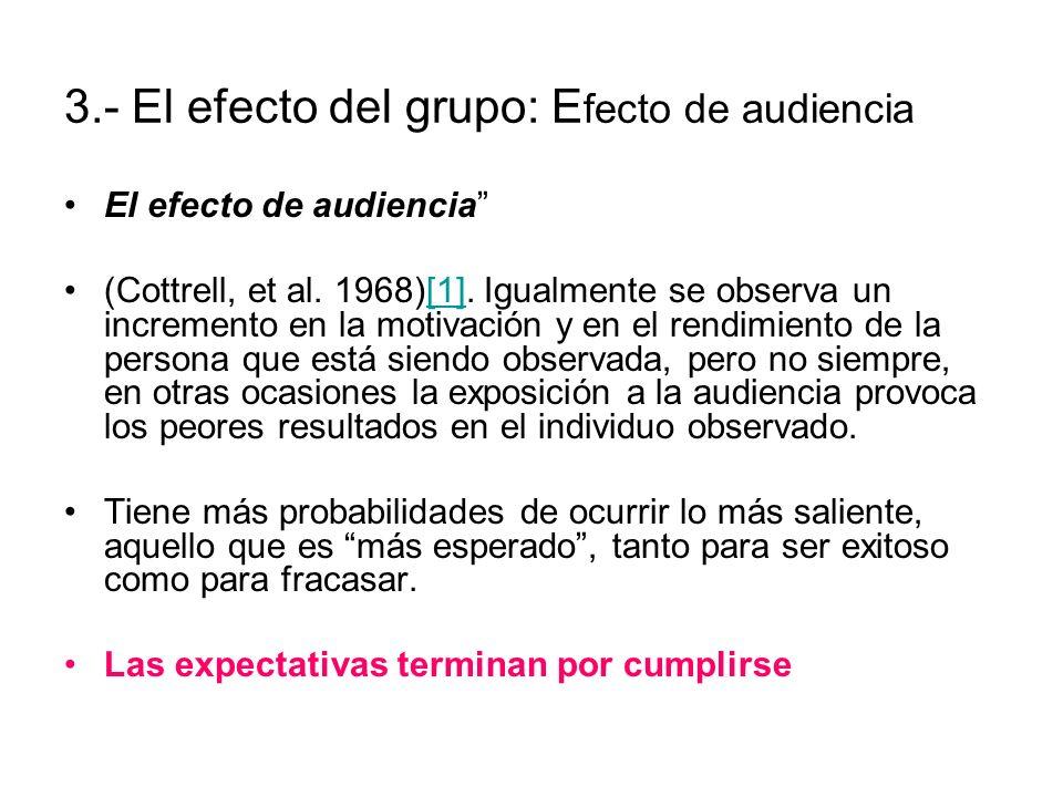 3.- El efecto del grupo: Efecto de audiencia