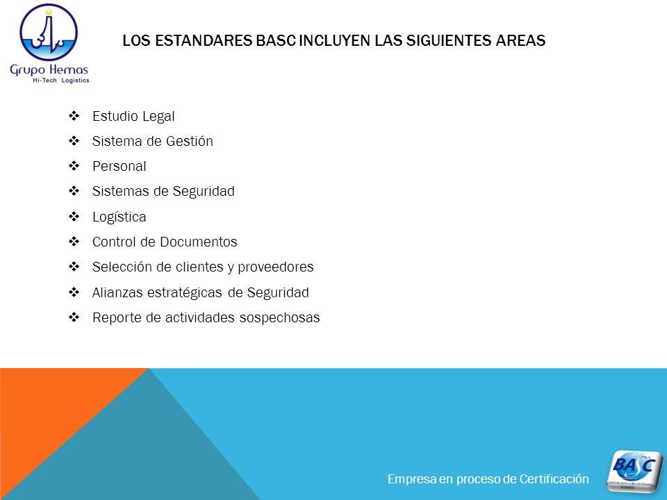 Los estandares basc incluyen las siguientes areas