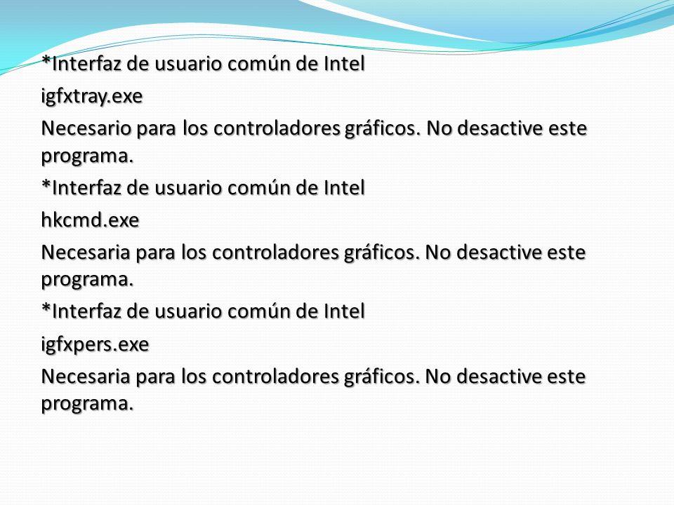 Interfaz de usuario común de Intel igfxtray