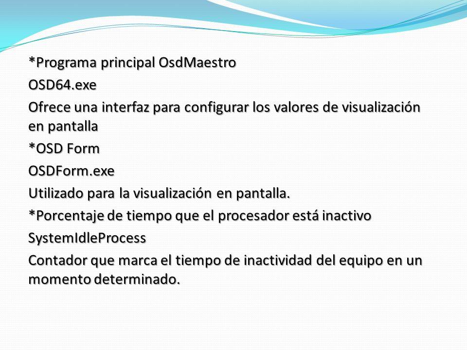 *Programa principal OsdMaestro