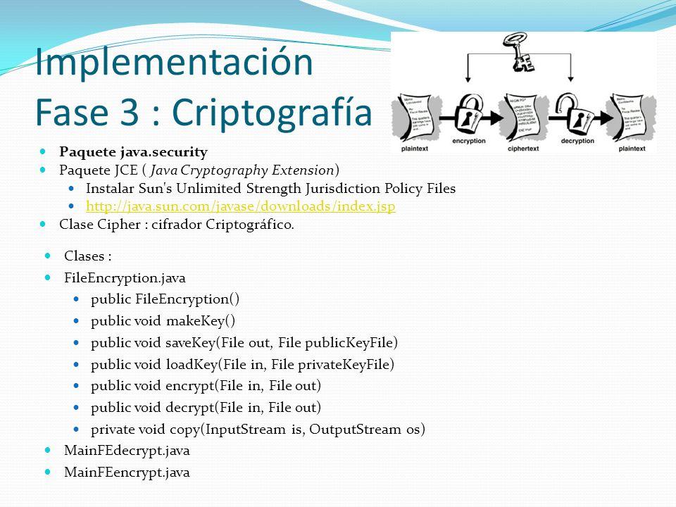 Implementación Fase 3 : Criptografía