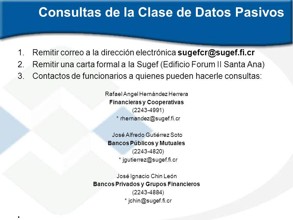 Consultas de la Clase de Datos Pasivos