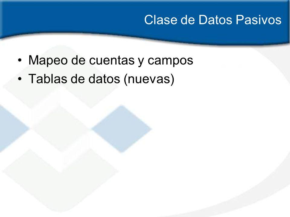 Clase de Datos Pasivos Mapeo de cuentas y campos Tablas de datos (nuevas)