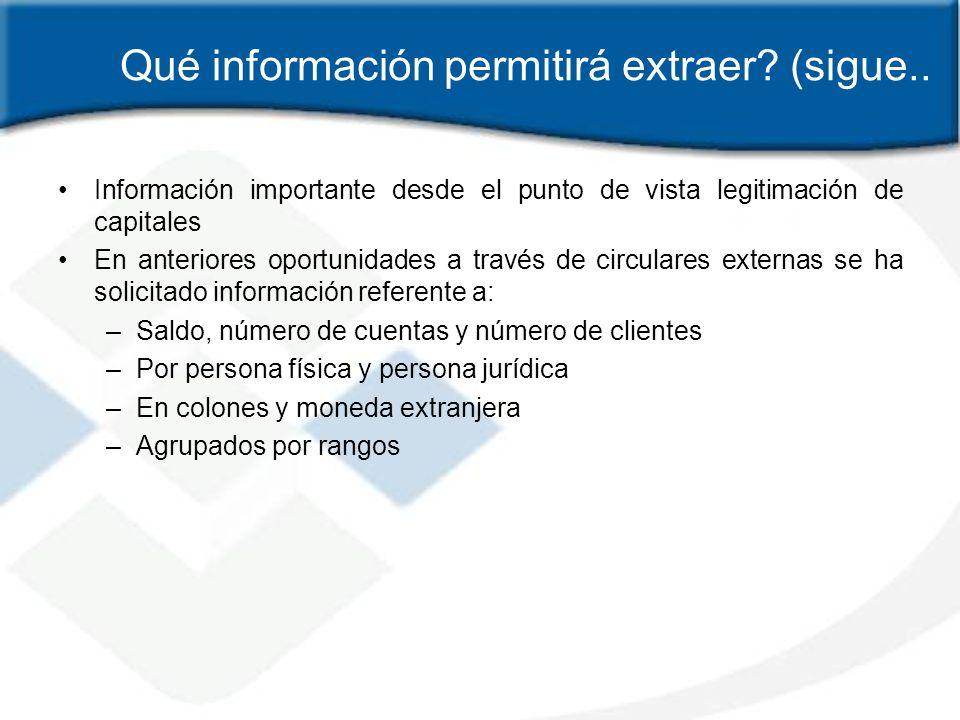Qué información permitirá extraer (sigue..