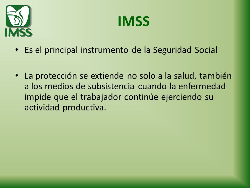 IMSS Es el principal instrumento de la Seguridad Social