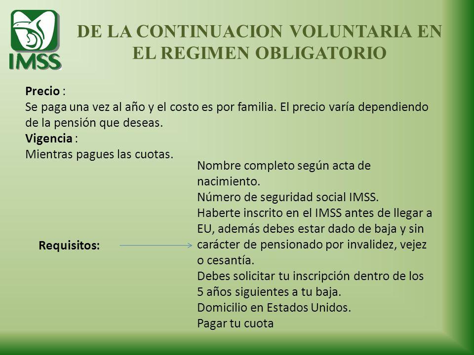 DE LA CONTINUACION VOLUNTARIA EN EL REGIMEN OBLIGATORIO