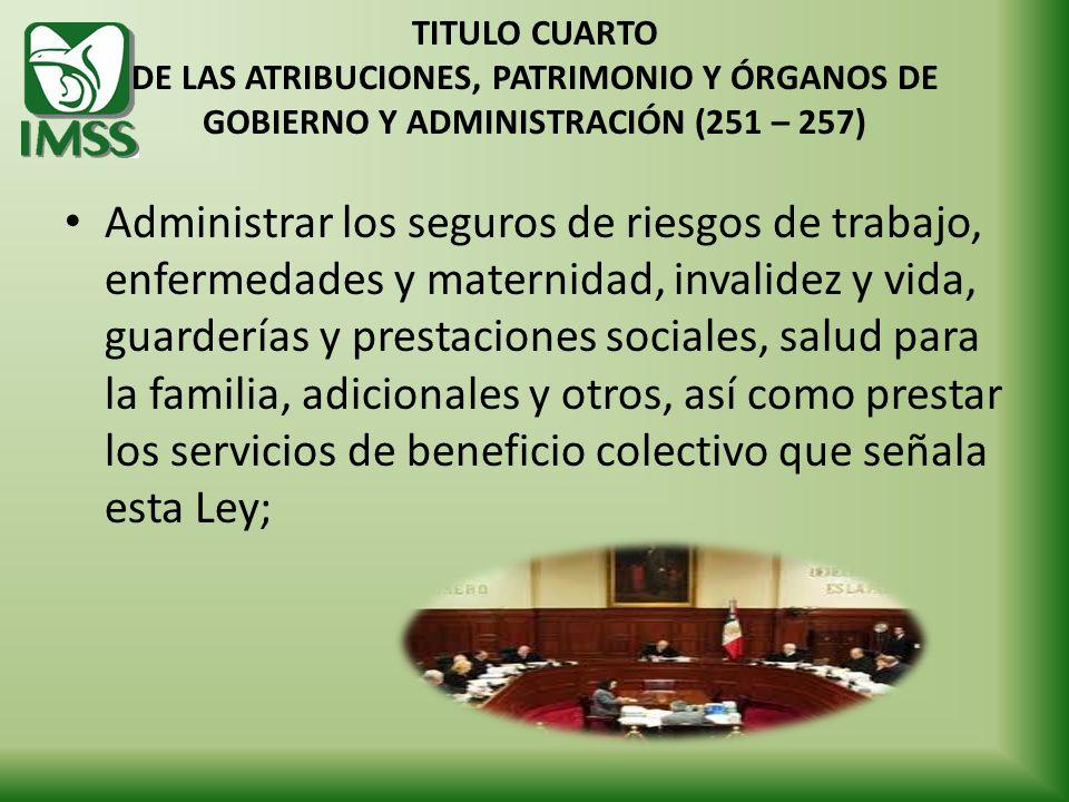 TITULO CUARTO DE LAS ATRIBUCIONES, PATRIMONIO Y ÓRGANOS DE GOBIERNO Y ADMINISTRACIÓN (251 – 257)