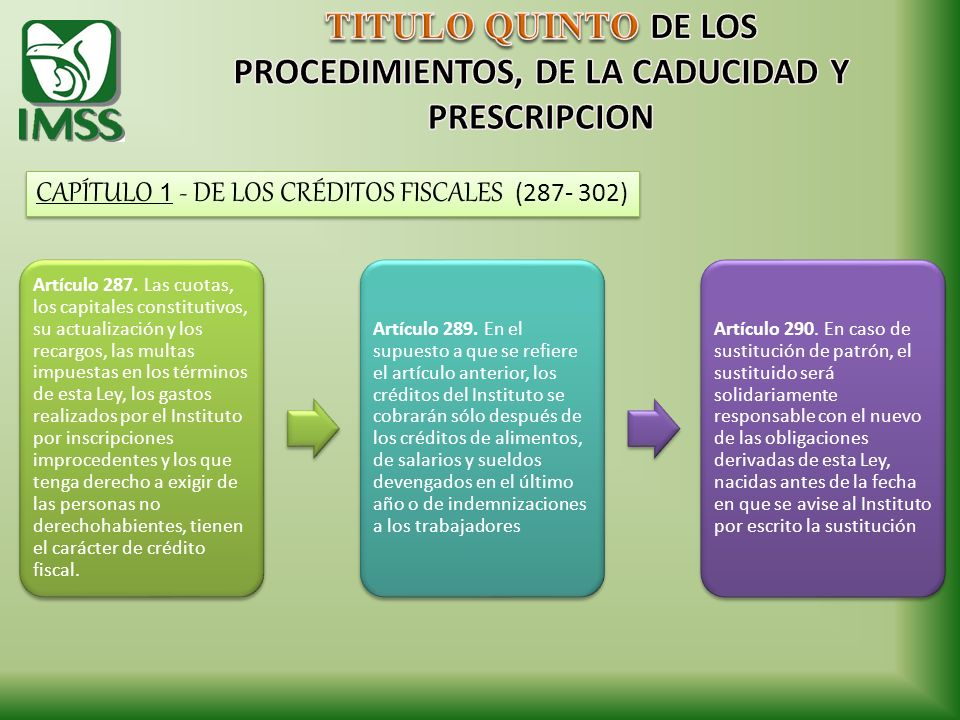 TITULO QUINTO DE LOS PROCEDIMIENTOS, DE LA CADUCIDAD Y PRESCRIPCION