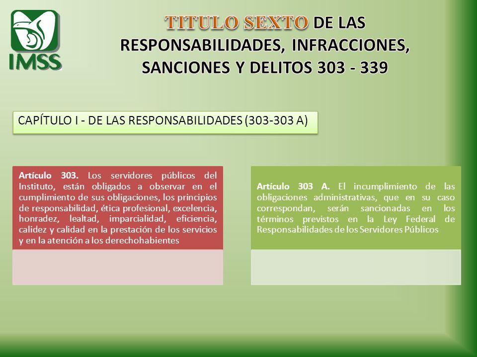 TITULO SEXTO DE LAS RESPONSABILIDADES, INFRACCIONES, SANCIONES Y DELITOS 303 - 339