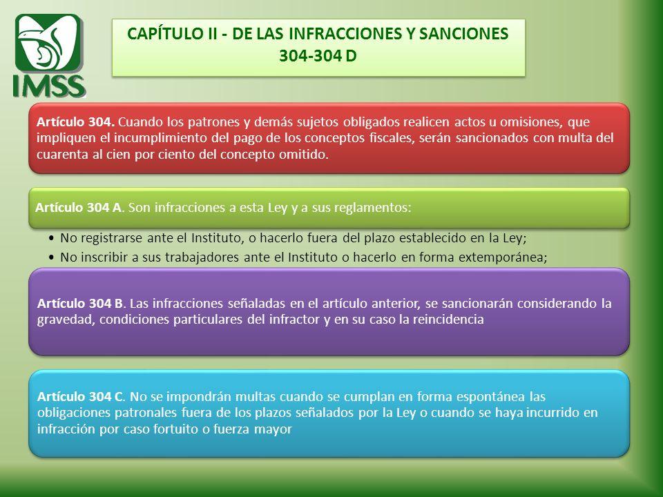 CAPÍTULO II - DE LAS INFRACCIONES Y SANCIONES 304-304 D