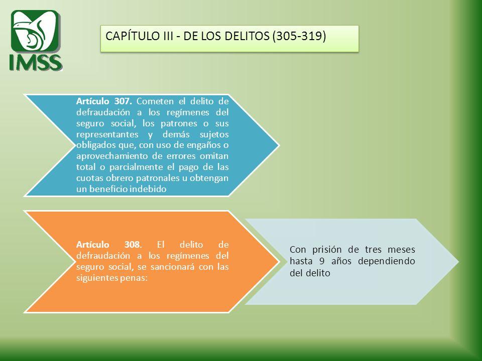 CAPÍTULO III - DE LOS DELITOS (305-319)
