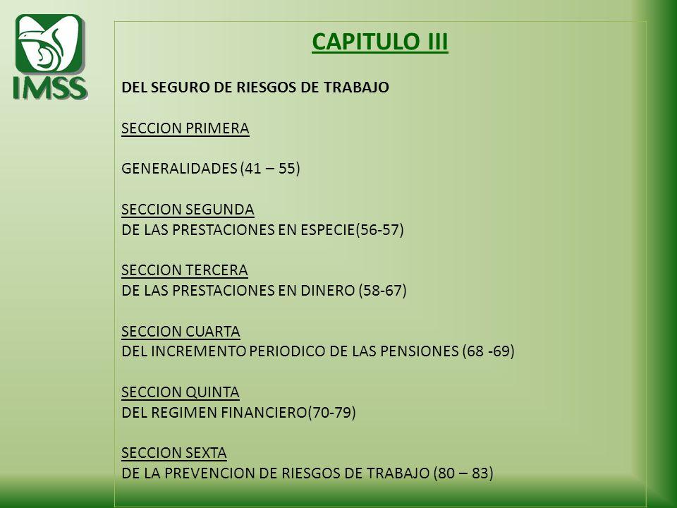 CAPITULO III DEL SEGURO DE RIESGOS DE TRABAJO SECCION PRIMERA