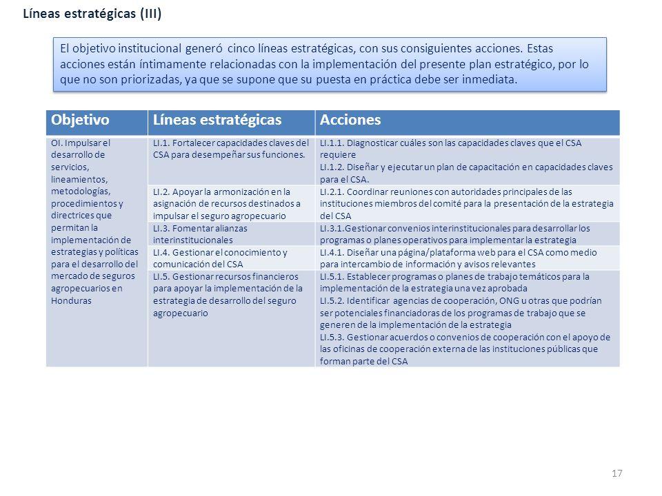 Objetivo Líneas estratégicas Acciones Líneas estratégicas (III)