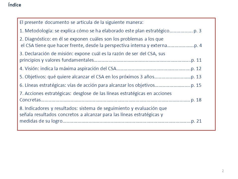 Índice El presente documento se articula de la siguiente manera: 1. Metodología: se explica cómo se ha elaborado este plan estratégico………………. p. 3.