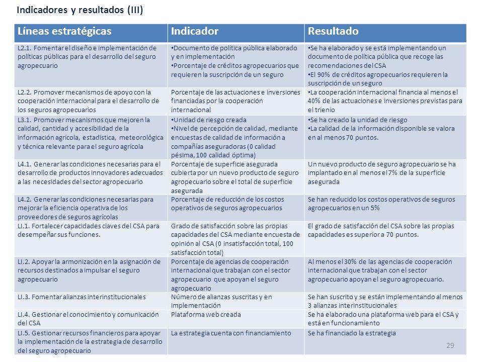Líneas estratégicas Indicador Resultado Indicadores y resultados (III)