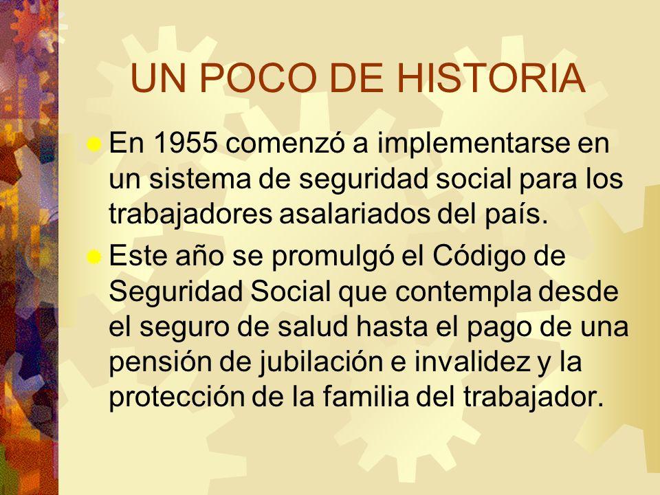 UN POCO DE HISTORIA En 1955 comenzó a implementarse en un sistema de seguridad social para los trabajadores asalariados del país.