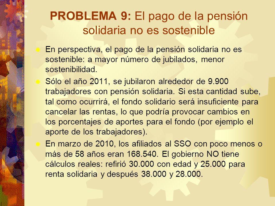 PROBLEMA 9: El pago de la pensión solidaria no es sostenible