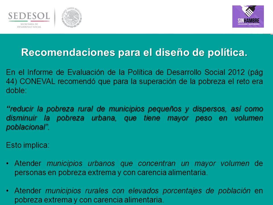 Recomendaciones para el diseño de política.