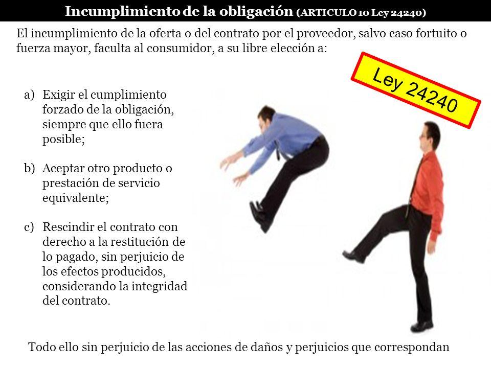 Incumplimiento de la obligación (ARTICULO 10 Ley 24240)