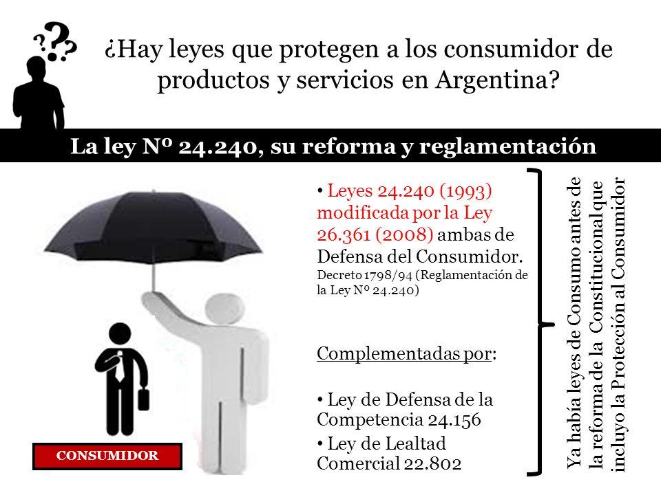 La ley Nº 24.240, su reforma y reglamentación