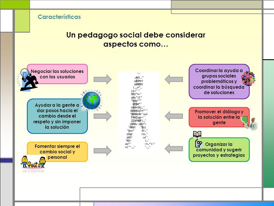 Un pedagogo social debe considerar aspectos como…
