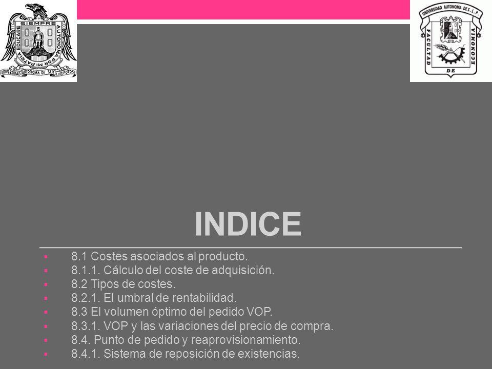 INDICE 8.1 Costes asociados al producto.