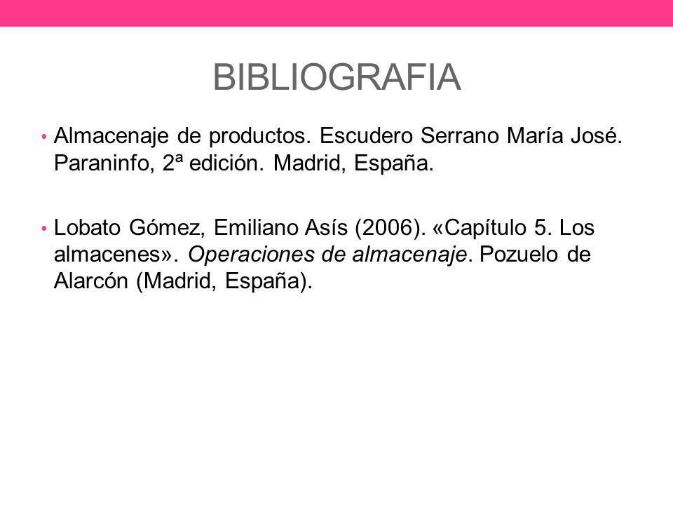 BIBLIOGRAFIA Almacenaje de productos. Escudero Serrano María José. Paraninfo, 2ª edición. Madrid, España.