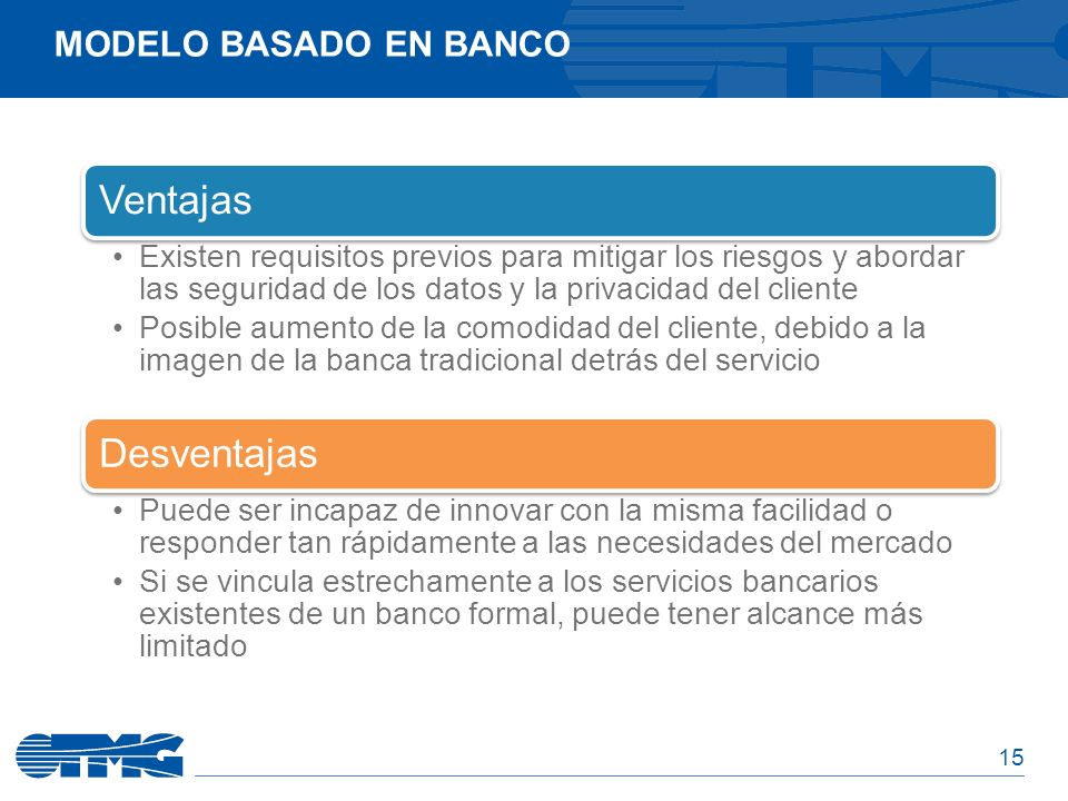 Ventajas Desventajas Modelo basado en banco